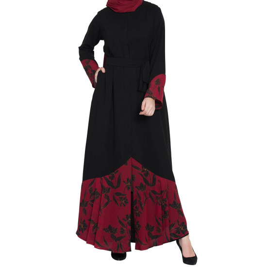 Red And Black Embroidery Pardha